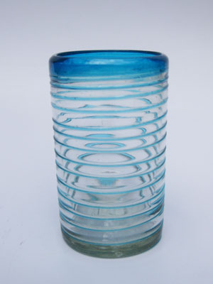 COLORED RIM GLASSWARE / 'Aqua Blue Spiral' drinking glasses (set of 6)
